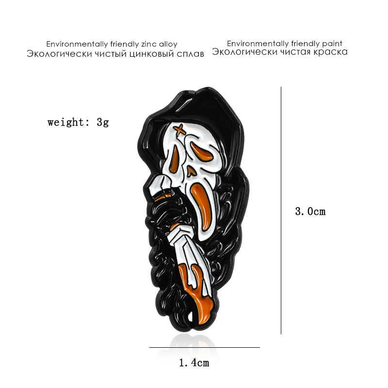 Gothic Jubah Hitam Kerangka Logam Enamel Bros Twist DEVIL Death Pedang Lencana Pin Kreatif Trendi Ransel Perhiasan Aksesoris