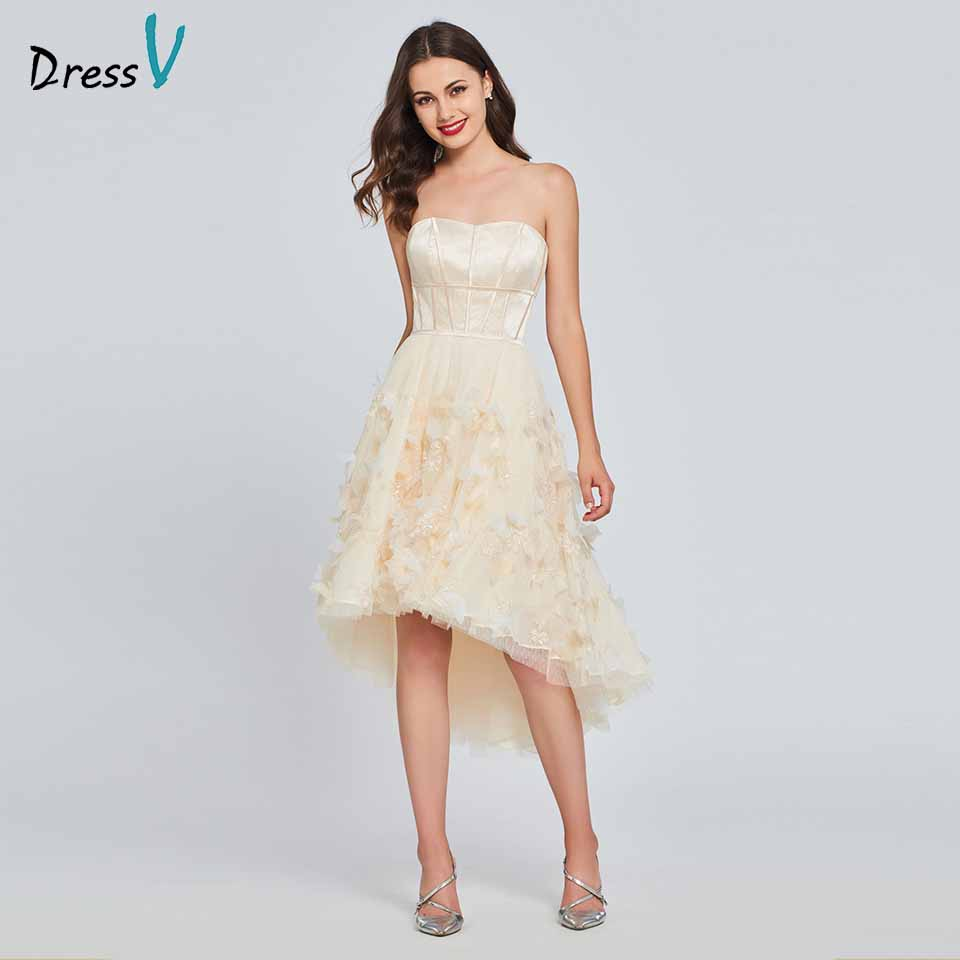 Dressv champagne homecoming dress sweetheart neck a line appliques sleeveless zipper up homecoming&graduation dresses