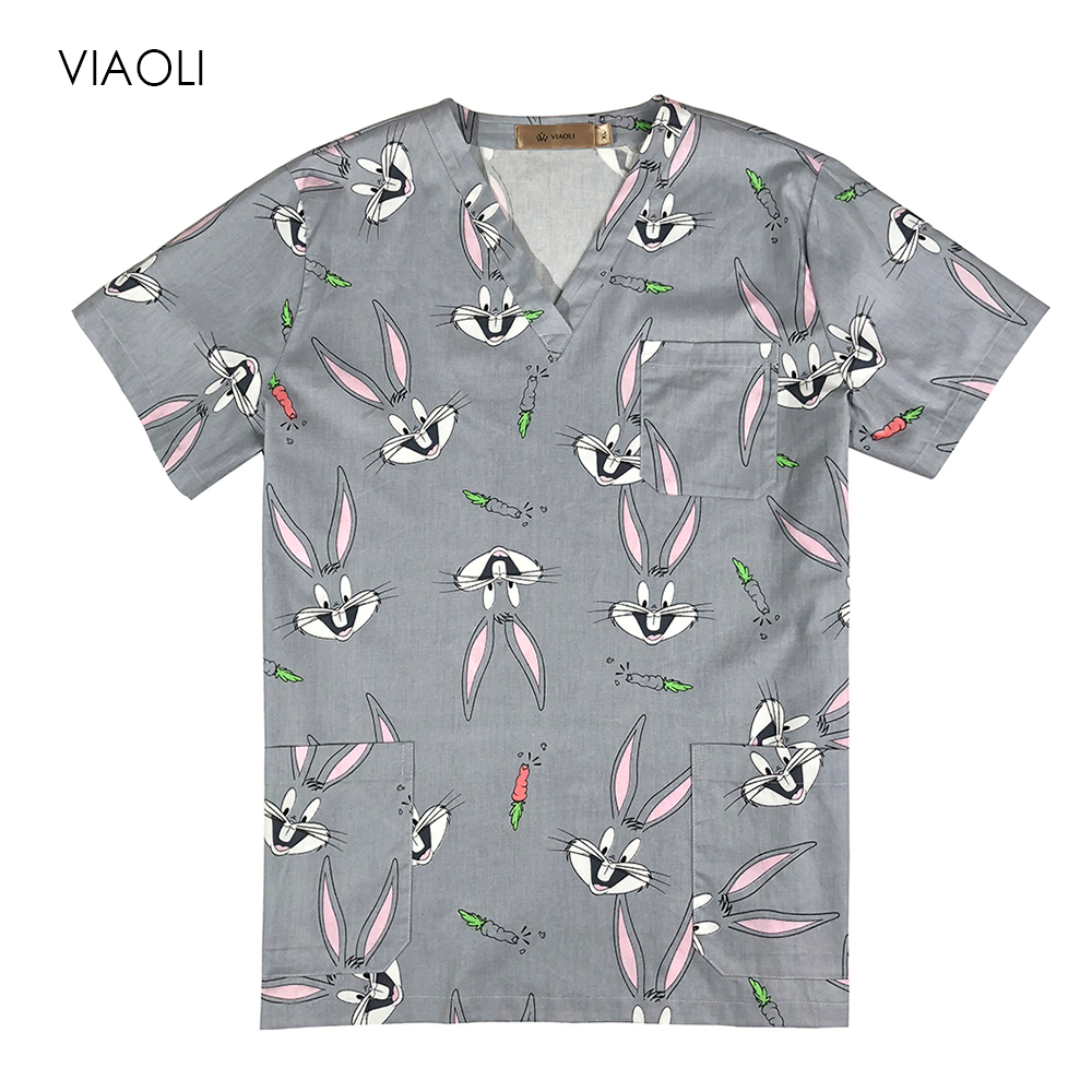 100% Cotton Medical Uniforms Printed Nurse Uniforms Women's Scrub Top V Neck Shirt Surgical Doctor Clothing Workwear Medical Top