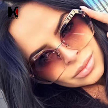 SHAUNA Classic Oversize Women Rimless Sunglasses Fashion Ladies Pink Gradient Lens Glasses