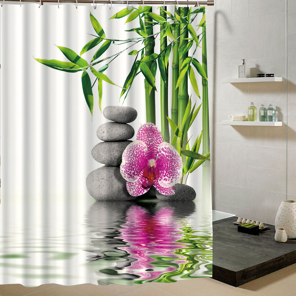 Chinese Countryside Style Bamboo Water Fountain And Flower In Water Zen SPA Relaxing Fabric Shower Curtain for Bathroom Decor