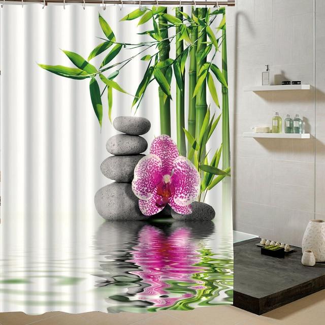 Chinesische Landschaft Stil Bambus Brunnen Und Blume In Wasser Zen SPA  Entspannen Stoff Duschvorhang Für Badezimmer