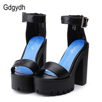 Drop Shipping White Summer Sandal Shoes For Women 2016 New Arrival Thick Heels Sandals Platform Causel