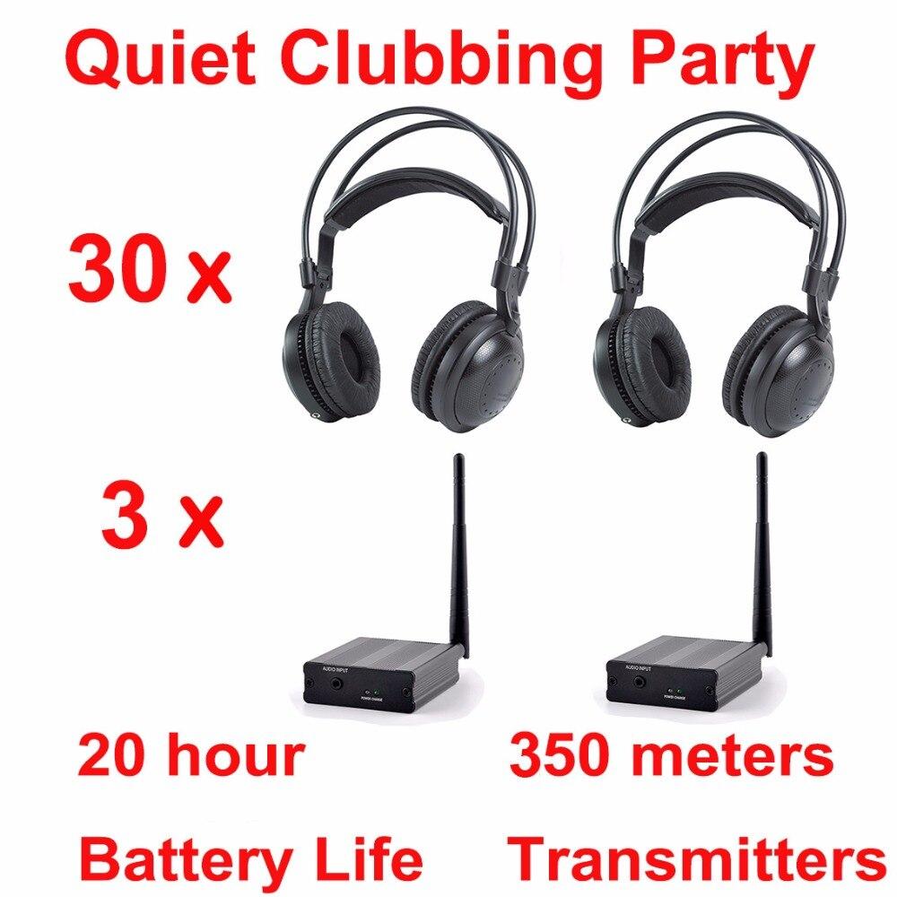 Professionnel Silencieux Disco système de concurrence sans fil casque-Calme Clubbing Partie Bundle (30 Casque + 3 Émetteurs)