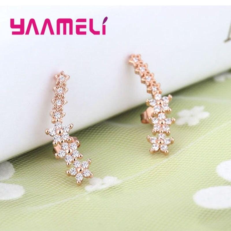 YAAMELI 100% 925 Sterling Silver Shinning Crystal Star Stud Earrings Girls/Women Trendy Jewelry Accessory Wholesale