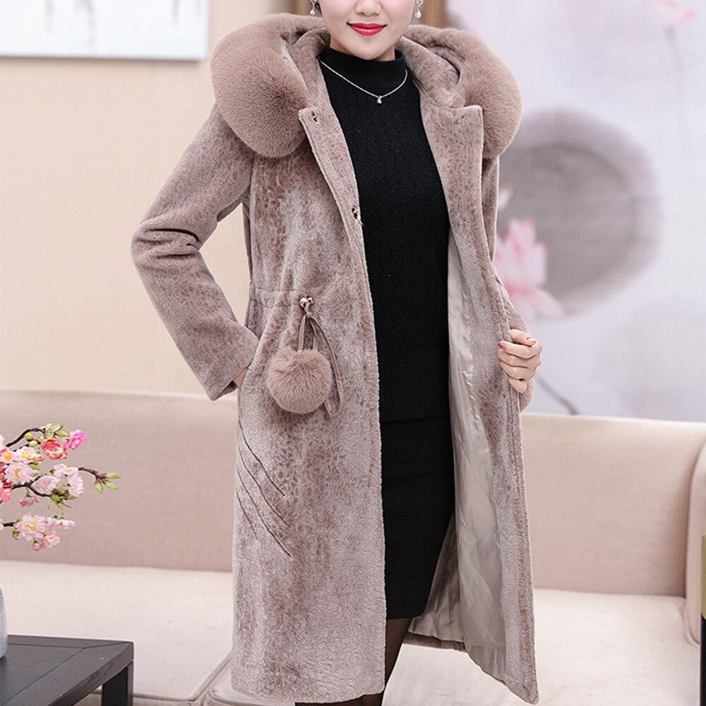 Pink Vêtements Largerlof Chaude 2018 Parka Fourrure Manteau brown Veste Avec De Réel Épaisse Pa47007 Long Femmes 1pnXWxp6v