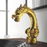 Смеситель для умывальника Латунь Золотой Дракон Форма раковины ванной комнаты кран Двойная Ручка Палуба Прилавок роскошный отель смесител