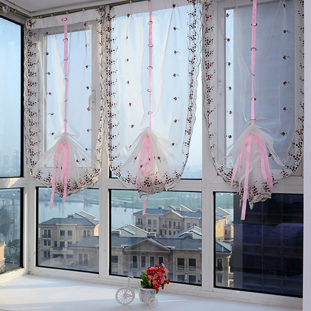 2018 Roman Curtains Top Sheer Kitchen Purple Pink Window Liftering Blinds Embroidered 1pc