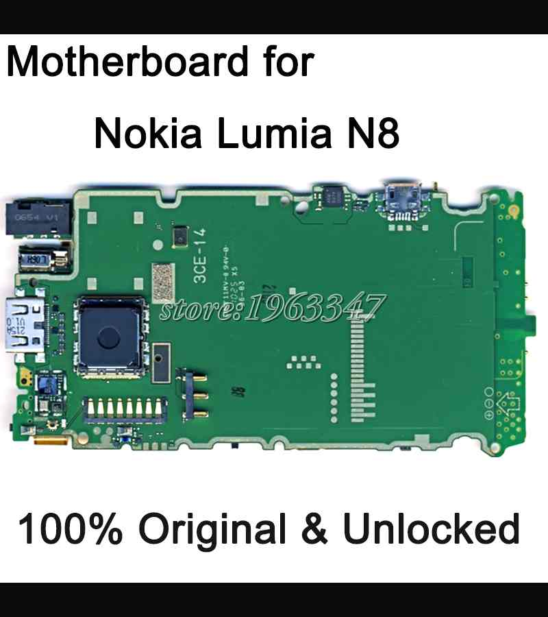 Well worked unlocked Original Motherboard For Nokia Lumia N8 motherboard WCDMA main board Logic Board