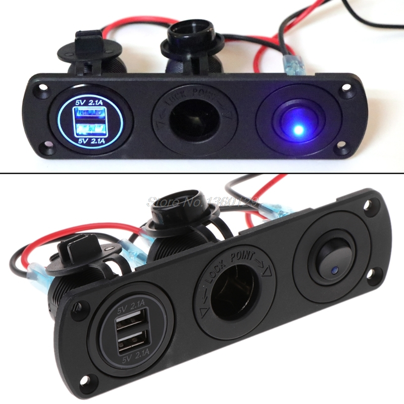 Dual USB Charger 2.1A 12V Power Outlet+ON-OFF Switch Panel for Car Boat Marine AUG_21 DropshipDual USB Charger 2.1A 12V Power Outlet+ON-OFF Switch Panel for Car Boat Marine AUG_21 Dropship