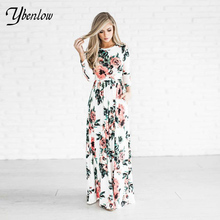 2017 новый женщины dress весенняя мода печатных длинными dress o-образным вырезом Three Четверти рукав империя цветок длиной до пола dress