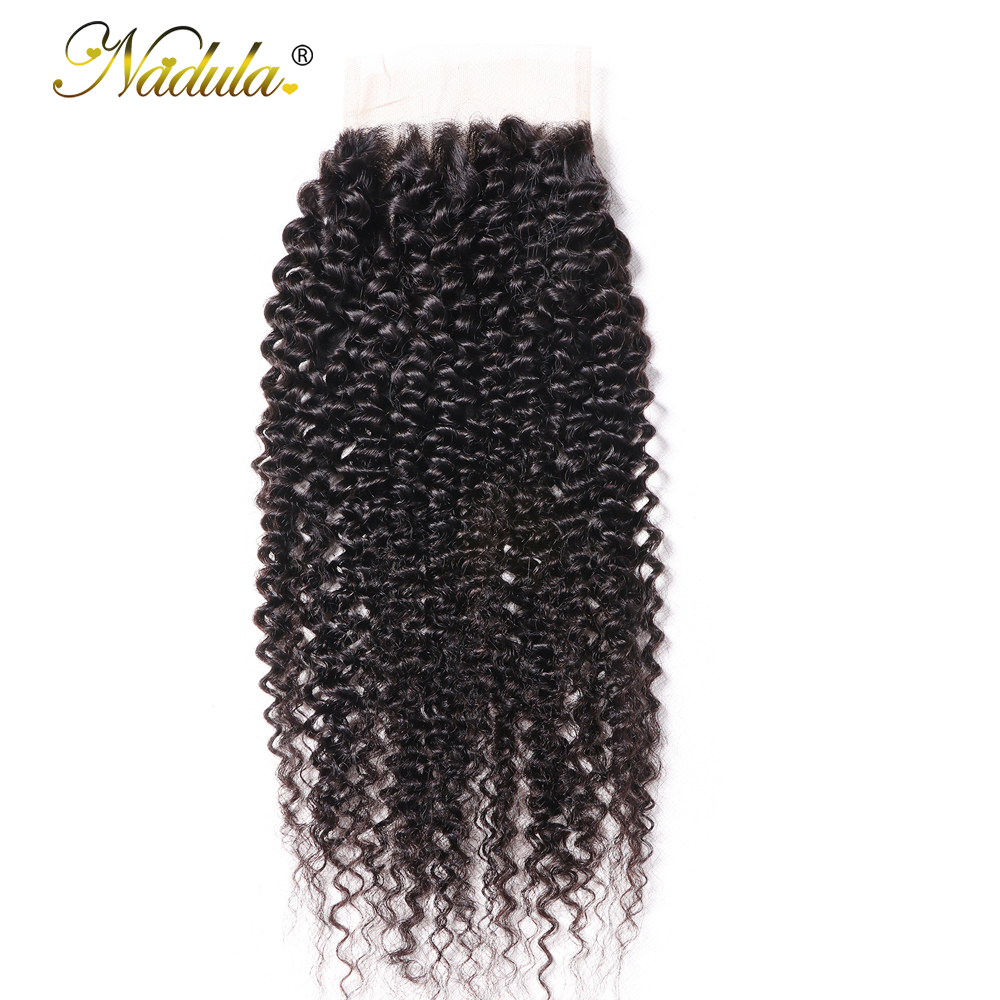 Nadula Hair Kinky Culry  Closure 10-20inch Swiss Lace Closure 4*4 Lace Closure 100% Human  Hair Natural Color 2