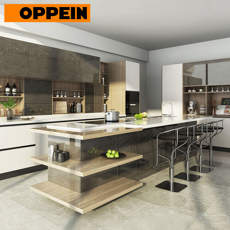 OPPEIN Custom Handle Free Modern Italian Lacquer Complete Kitchen Cabinet Set (OP17-L12)