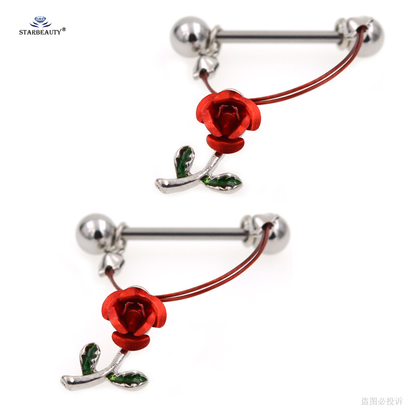 Starbeauty 2Pcslot Romantic Red Rose Nipple Ring Helix -9142