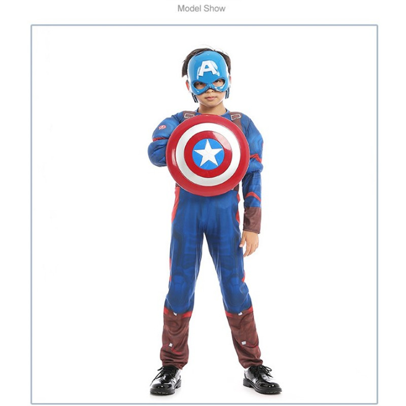 Superhero Kids Muscle Captain America Costume Avengers Child Cosplay Super Hero Halloween Christmas party Costumes
