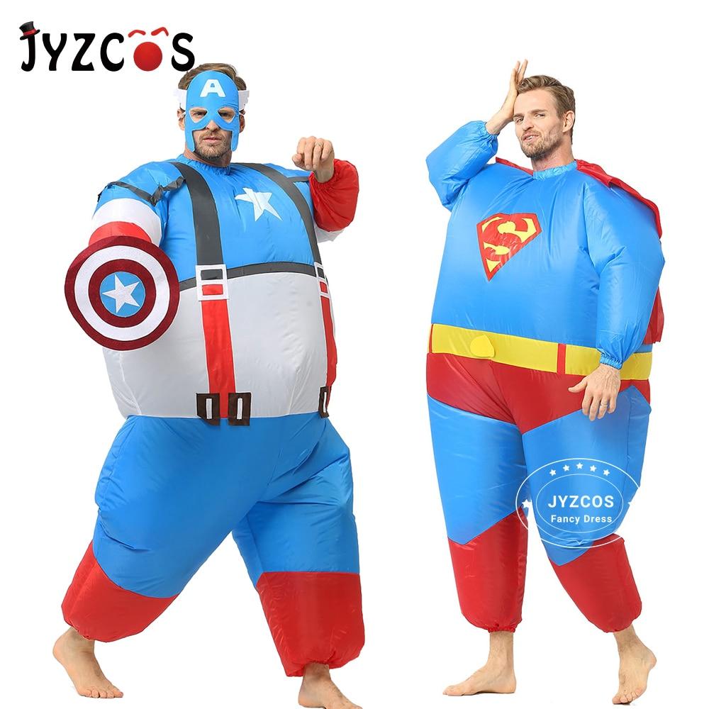 JYZCOS надувные жира Супермен Бэтмен Капитан Америка костюмы на Хэллоуин, способный преодолевать Броды для взрослых Детский праздничный костюм Косплэй супергероя нарядное платье