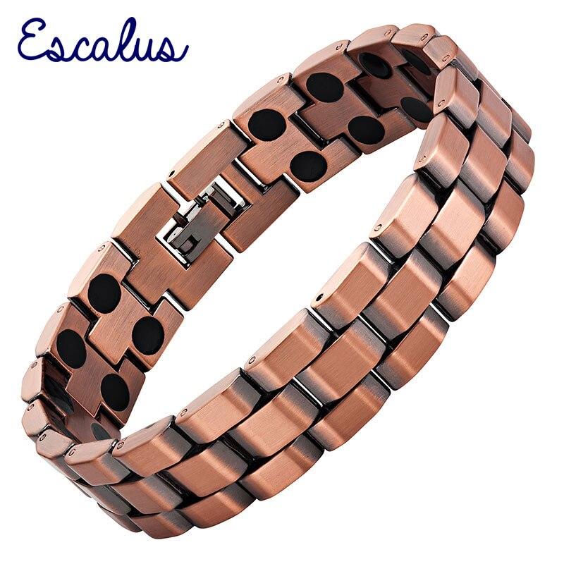 Escalus Trendy Men's Jewelry Magnetic Bracelet For Men Antique Copper 36pcs Magnets Fashion Bracelets Boy Gift Wristband