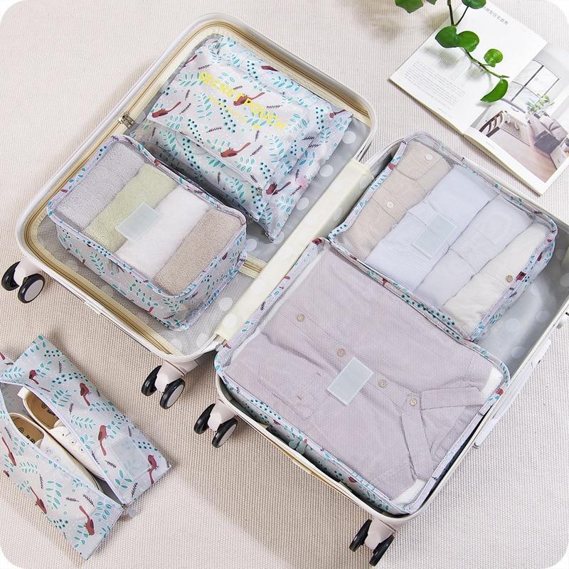 6pcs/set Travel Bag Cloth Storage Bag Box Travel Mesh Bag Luggage Organizer Divide Container Organiser Travel Storage Package