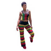 Women Fishnet Sexy Two Piece Pants Set Summer Crop Top Rainbow Striped Wide Leg Pant Suit Mesh Beach