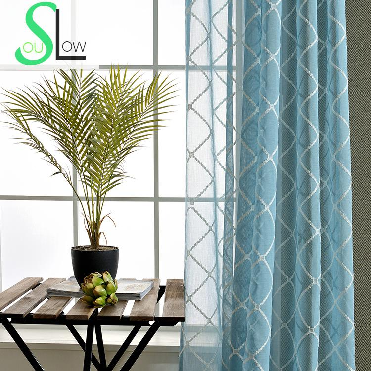 Slow Soul White Pink Blue Pastoral Small Fresh Embroidered Plaid Curtain Curtains Tulle For Living Room Kitchen Bedroom Sheer