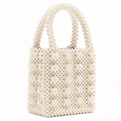 design paragraph pearl heavy metal beads handbag pearls bag beading box  totes bag Vintage Female Top-handle dropshipping