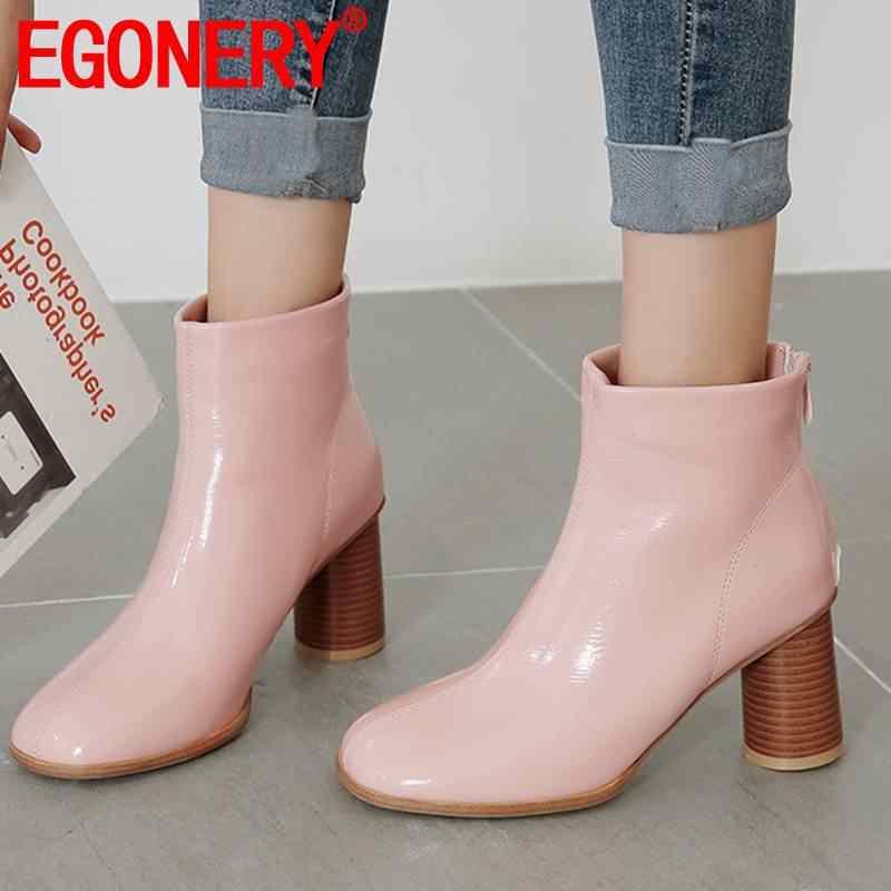 EGONERY Patent leder Chelsea stiefel nette frau rosa schwarz beige high heels winter hochzeit schuhe zip ankle stiefel drop verschiffen