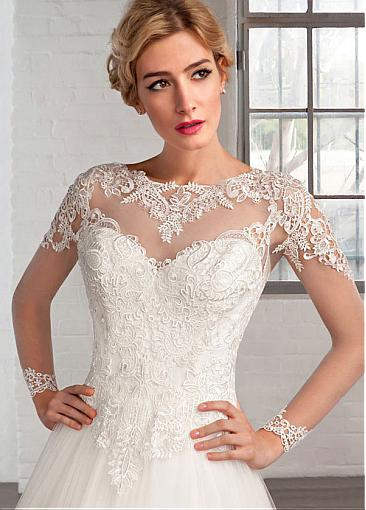Image 5 - Elegant Tulle Bateau Neckline A line Wedding Dresses with Lace Appliques Long Sleeve Bridal Gowns Robe De Mariage-in Wedding Dresses from Weddings & Events