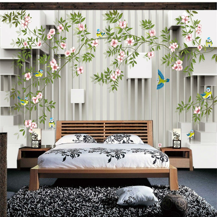 Elegant Wallpaper For Wall: Elegant Flowers Bird Photo Wallpaper Custom 3D Wallpaper
