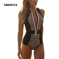 Printed Black One Piece Women Swimsuit Vest Beachwear With Zipper Sleeveless European Swimwear Female Bathing Suit