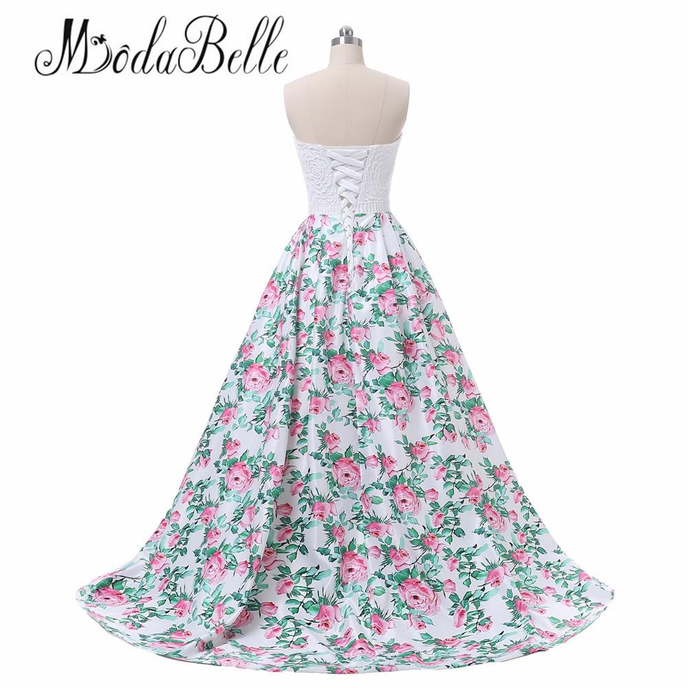 modabelle bloemenprint roze lange prom avondjurk vrouwen vestidos de - Jurken voor bijzondere gelegenheden - Foto 2