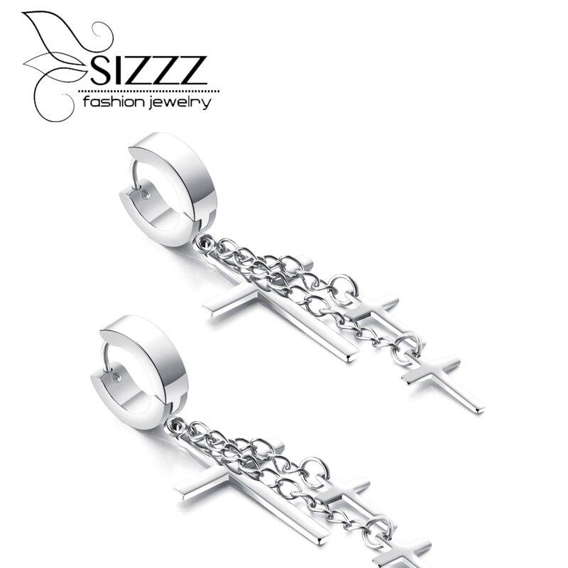 SIZZZ Trendy fashion women drop earrings cross gold/silver/black color earrings for women