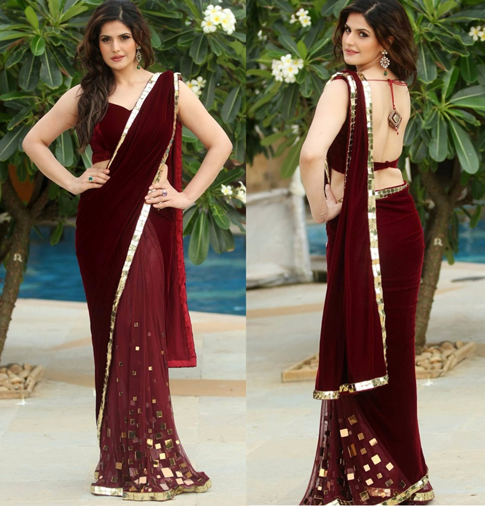 Amazing 2017 Indian Saree Burgundy Velvet Evening Dress With Gold Crystal One Shoulder Backless Formal Dresses