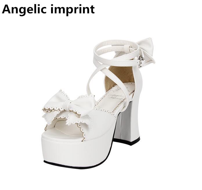Fille Femme Super Empreinte Cosplay 33 Angélique 47 Princesse Arc Chaussures Robe Dame Blanc Lolita Pompes D'été Haute Talons Sandales Mori Femmes w8qgdt