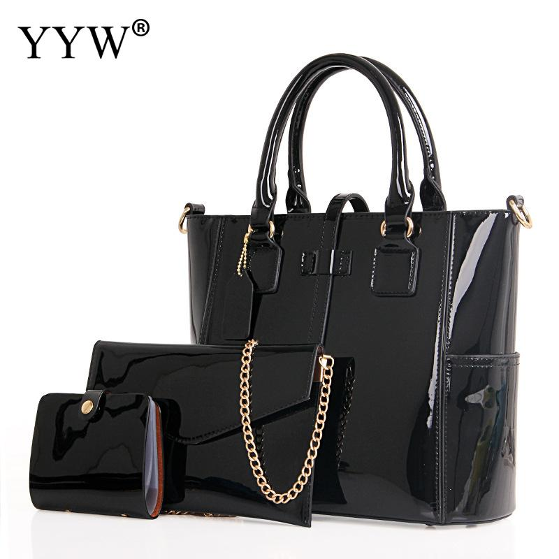 3 PCS/Set Solid Color PU Leather Handbags Women Bag Set Brands Casual Tote Bag Lady Envelope Shoulder Crossbody Bags Clutch Bag