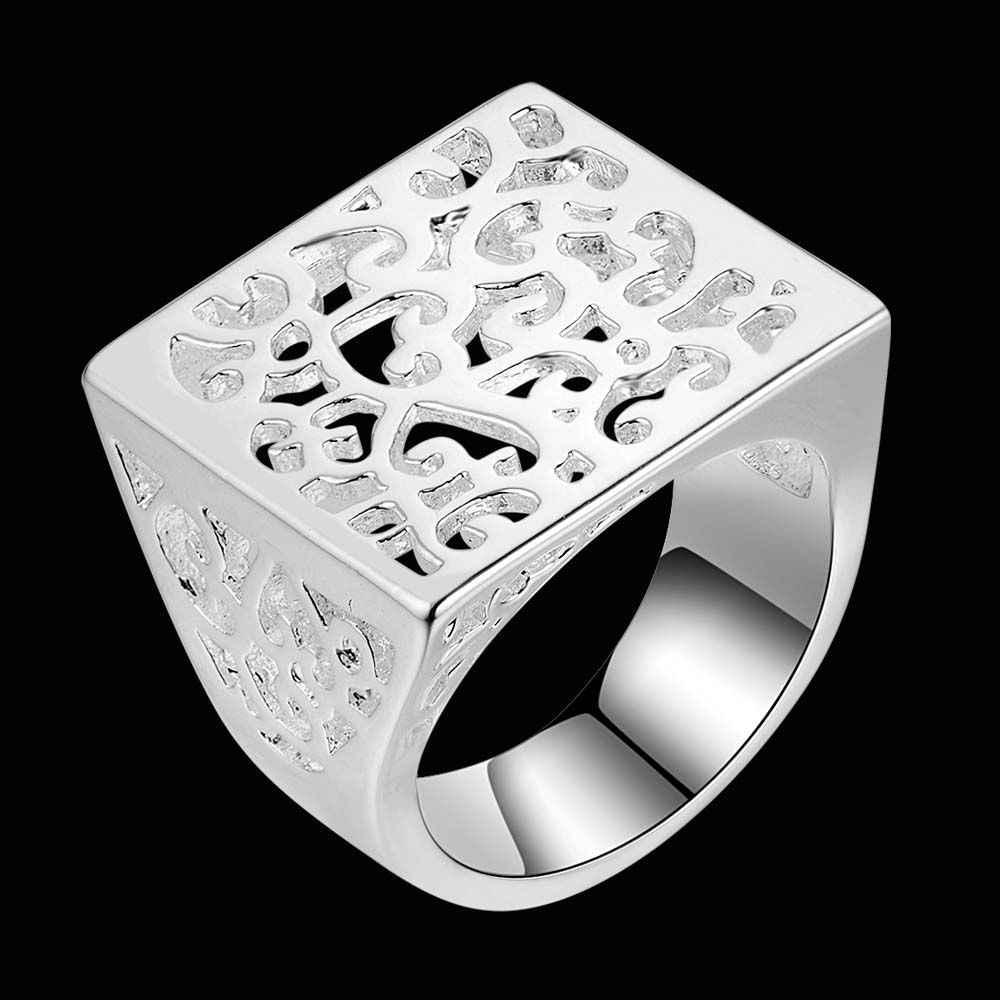 Carve modello di piazza del Commercio All'ingrosso 925 gioielli in argento placcato anello, Anello dei monili di modo per Le Donne,/ZGVPCHYV MNENQIEO