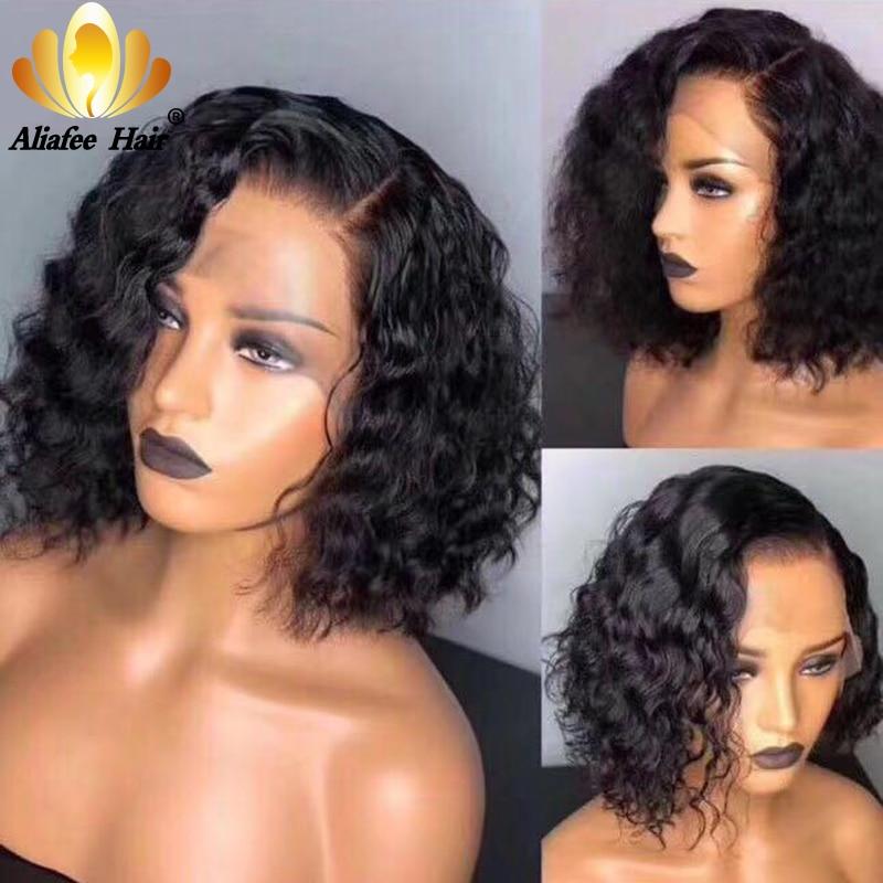 AliAfee Bob Lace Front Wigs 13x4 Pre Plucked Brazilian Deep Wave Short Human Hair Wigs 150