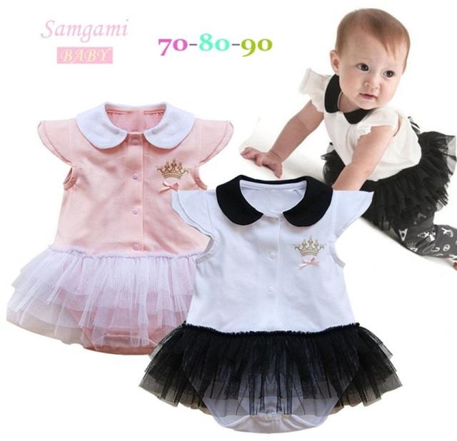 2016 Bebés del mameluco del vestido vestidos ropa de manga corta vestido de verano infantil kid linda corona de la princesa del mono de 2 colores