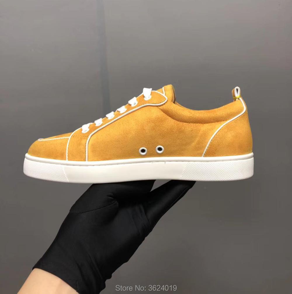 Sin Primavera Amarillo Lace Mocasines Zapatos Rojos Clandgz Hombres 2018 Corte Velvet Cuero Zapatillas De Remache Calzado up Inferiores Bajo wwqApXzU