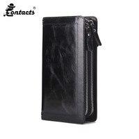 CONTACT'S Fashion Men's Original Wallet Clutch Guaranteed Genuine Leather Vintage Man Clutch Bag High Capacity Passcard Pocket