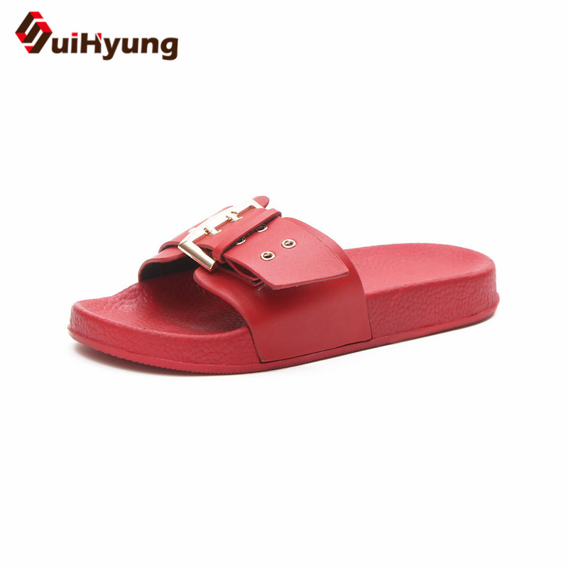 Suihyung 2018 Women's Slippers Fashion Vintage PU Leather Soft Bottom Sandals Female Beach Slippers Flip Flops Bathroom Slipper