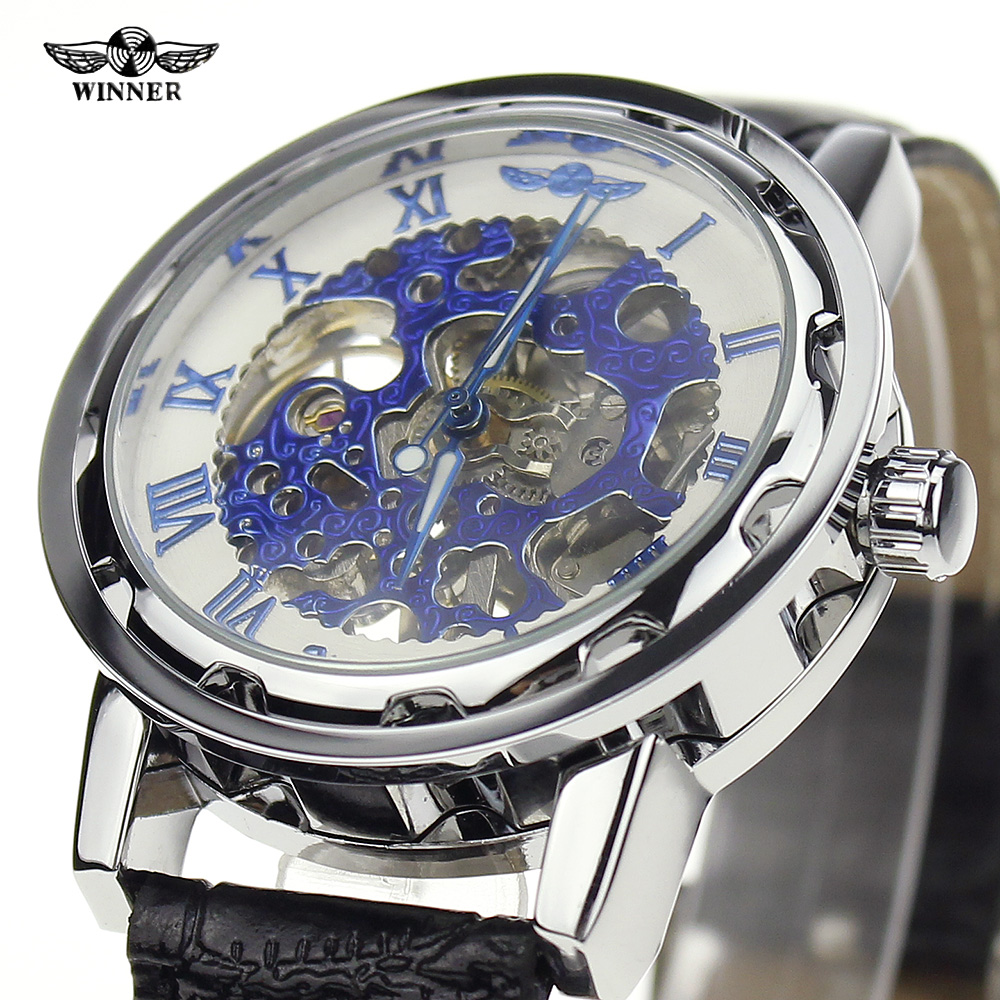 Wrist watches brands for mens - Relogio Crazy Luxury Men Watches Brands Winner Silver Blue Case Leather Clasp Skeleton Mechanical Hand Winding Gift Wrist Watch