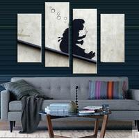 4 Pictures Banksy Art Blowing Bubbles On The Roof Pinturas Al Oleo Cheap Modern Canvas Art
