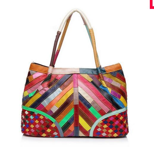 New arrival sheepskin patchwork knitted women's handbag multicolour stripe bag genuine leather big shoulder bag 2017 new arrival genuine leather women handbag sheepskin multicolor shoulder bag casual colourful patchwork women bag tote