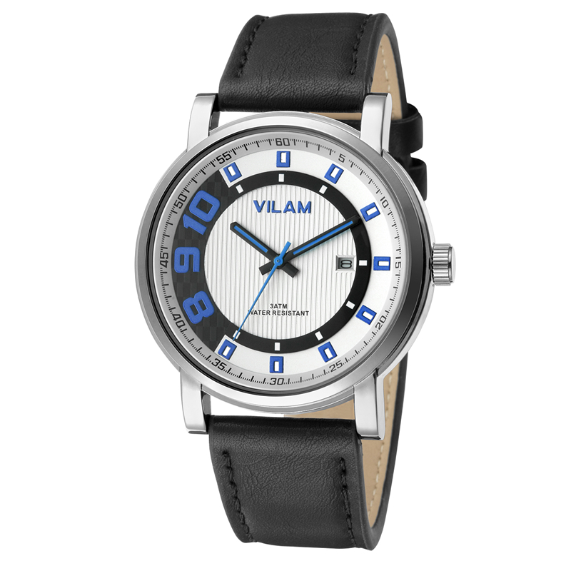 Men Casual Hombre Sport Waterproof VILAM Brand Luxury Fashion Military Calendar Watches Leather Quartz Watch Relogio Masculino relogios masculino sollen calendar mechanical watch luxury men black waterproof fashion casual military brand sports watches