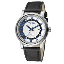 Мужчины Повседневная Hombre Спортивные Водонепроницаемый VILAM Марка Эксклюзивная Модная Военный Календарь Часы Кожа Кварцевые Часы Relogio Masculino