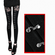Fashion sexy fitness leggings women 2017 gothic punk rock legins lace patchwork black leggings girls skinny pencil pants clothes