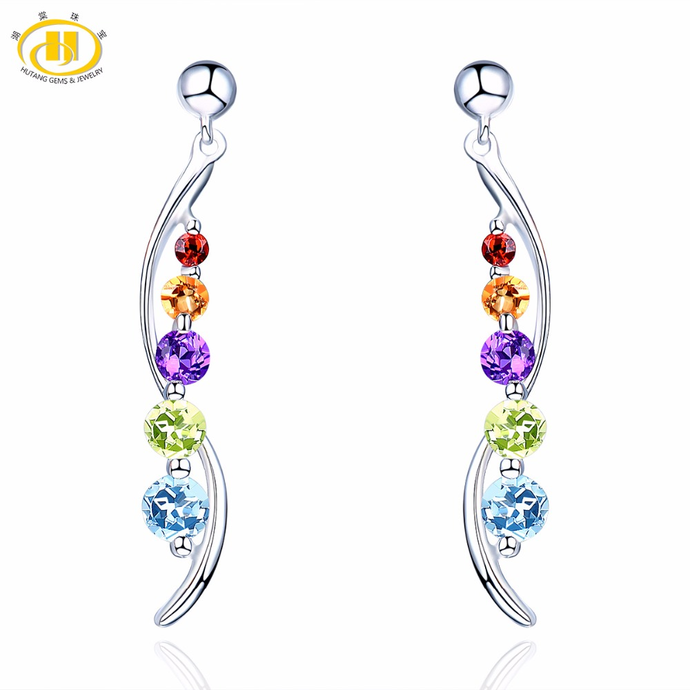 Hutang Multi Stone Jewelry Natural Gemstone Amethyst Sky Blue Topaz Solid 925 Sterling Silver Pea Earrings Fine Jewelry For GiftHutang Multi Stone Jewelry Natural Gemstone Amethyst Sky Blue Topaz Solid 925 Sterling Silver Pea Earrings Fine Jewelry For Gift