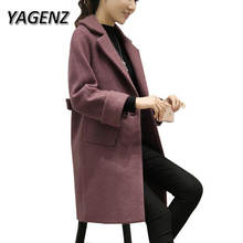YAGENZ Women Warm Wool Jackets 2017 New Fashion Winter Loose Solid color Long Outerwear Double-breasted Slim Female Woolen Coats
