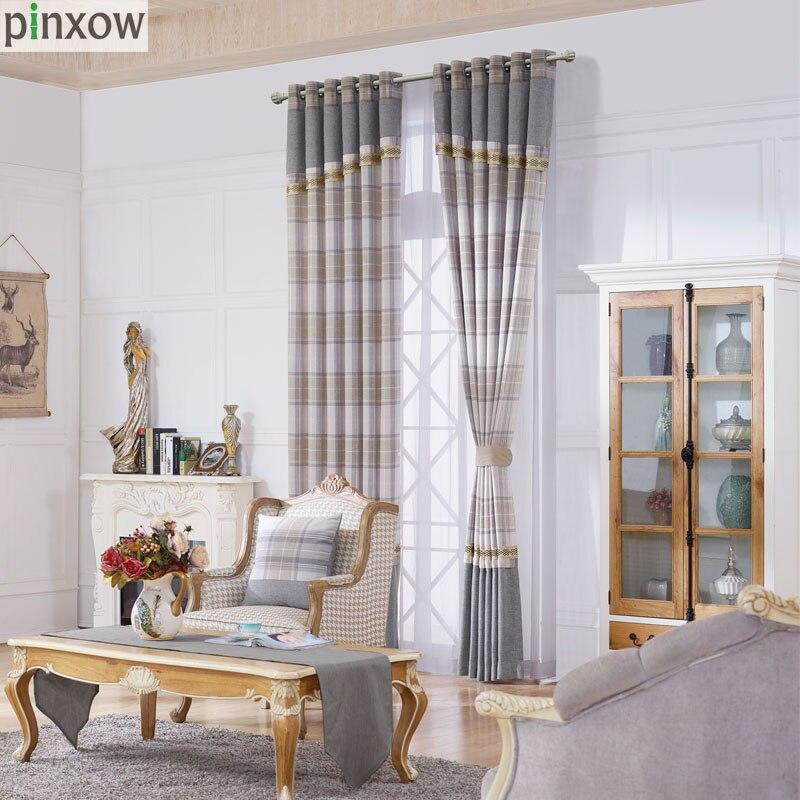 cortinas para la sala de estar de lujo chenille gruesa plaid cortinas para el dormitorio comedor ventana ciega escocia gris suav
