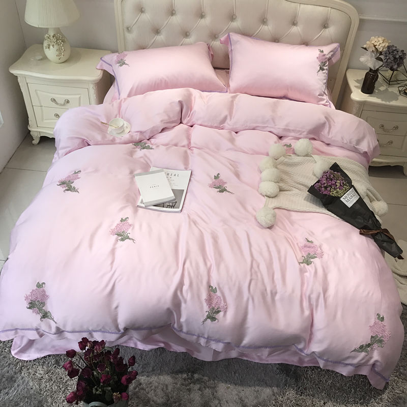 4/5pcs Luxury Tencel Embroidered Garden of dreams Bedding Set Silky smooth Duvet cover set Bedsheet Pillowcases Queen King Size4/5pcs Luxury Tencel Embroidered Garden of dreams Bedding Set Silky smooth Duvet cover set Bedsheet Pillowcases Queen King Size